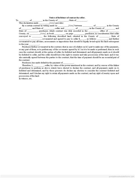 Contract Default Letter Forfeiture Of Sales Contract Sle Letter Printable