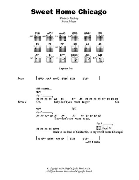 sweet home chicago sheet by robert johnson lyrics