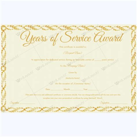 Years Of Service Certificate Templates Free years of service award certificate templates word layouts