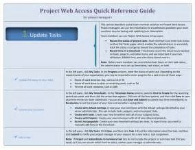 Reference Guide Template Word by Project Web Access Reference Guide For Managers