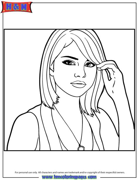 celebrity selena gomez coloring page h m coloring pages