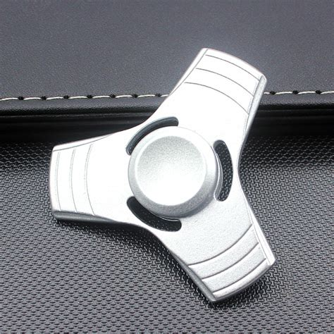 Fidget Spinner Metalik Sharp 25 Cm wholesale tri aluminum fidget spinner stress reducer for autism child silver