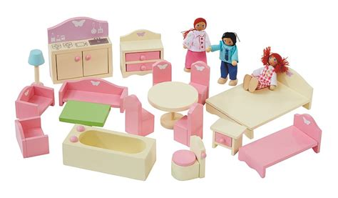 wooden childrens dolls house george home wooden doll house furniture set kids george at asda