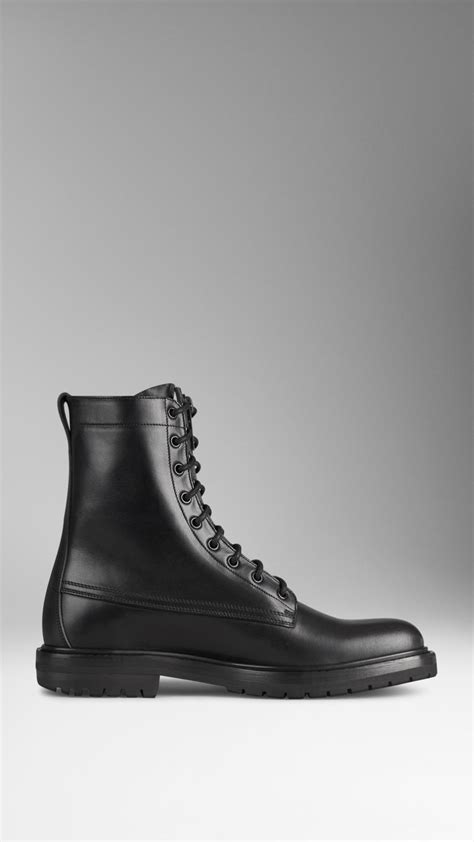 burberry boots mens burberry leather boots in black for lyst