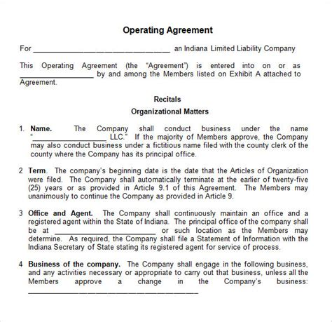 llc agreement template operating agreement 8 free pdf doc