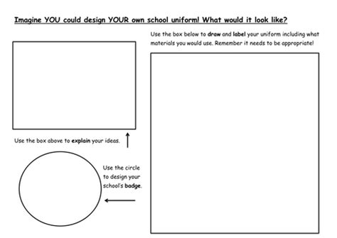Designing Your Own School Uniform By Lwhite89 Teaching Resources Tes Create Your Own Worksheet Template