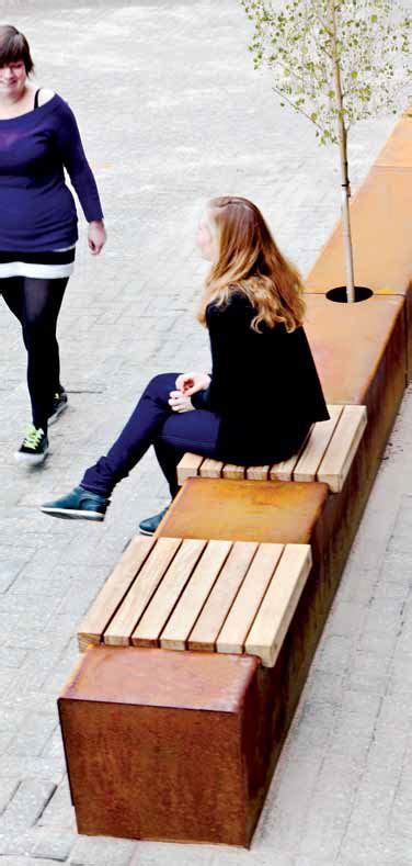 Bac En Bois 3951 by Contemporary Bench In Wood And Metal Corten Seat