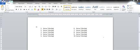 cara membuat nomor halaman 2 kolom cara membuat nomor terurut ke sing di word kamar