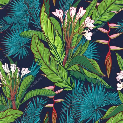 Tropical Jungle tropical jungle seamless pattern on blue background
