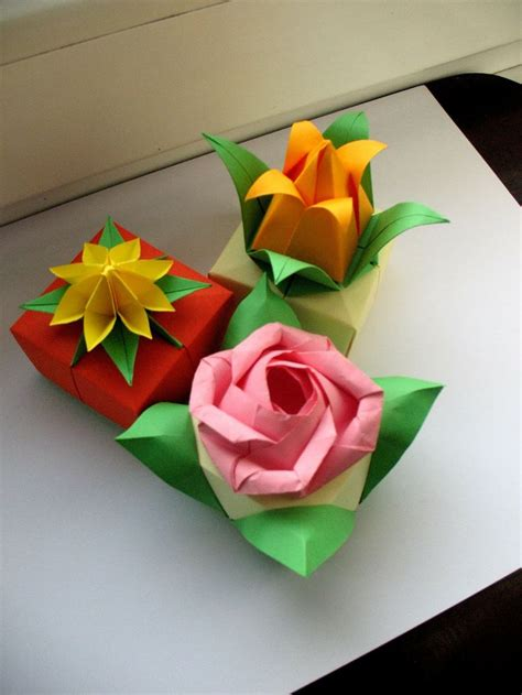 Origami Box Flower - 88 best images about origami flowers on