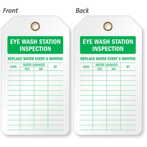Eyewash Inspection Tags Shower Inspection Record Tags Eyewash Station Checklist Template