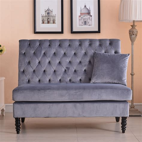 grey velvet tufted sofa velvet modern tufted settee bench bedroom sofa high back