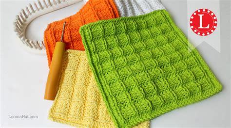 knit loom loom knitting waffle stitch washcloth dishcloth project