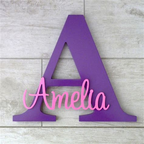 Gift Letter Boi Personalised Wooden Letter With Name In Lolly Pink Decor Room Custom Name