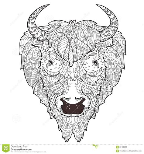 bison head doodle stock vector image 58403984