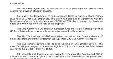 Introduction Of Letter K Introduction Of Employees State Insurance Esi Scheme For Gds Employees Letter To