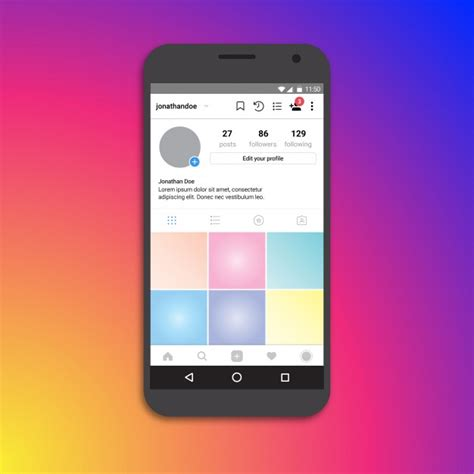 instagram layout download iphone instagram profile page template vector premium download