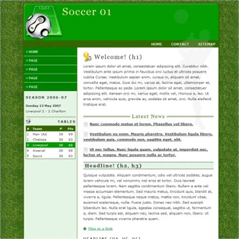 soccer html template soccer 01 template free website templates in css html js