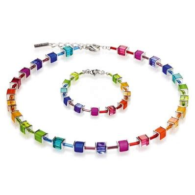 coeur de lion geo cube multicoloured necklace & bracelet