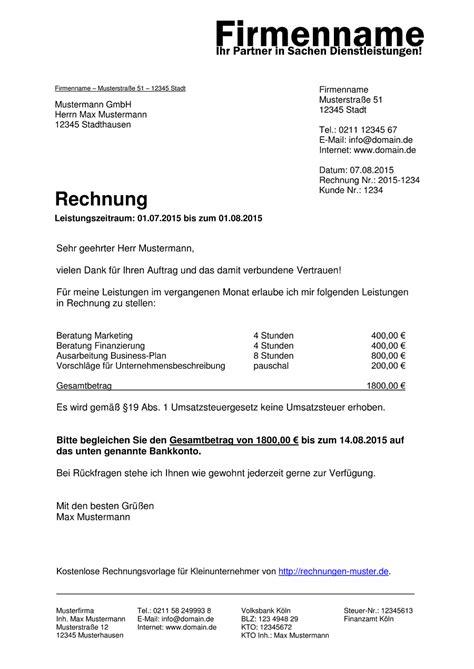 Rechnungsmuster Mwst Kleinunternehmer Rechnung Rechnungsvorlagen F 252 R