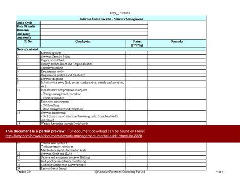 network checklist template network management audit checklist excel