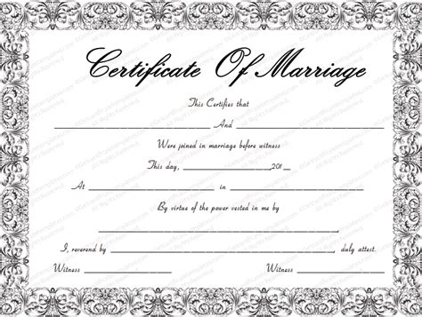Free Marriage Certificate Template by Swirls Marriage Certificate Template