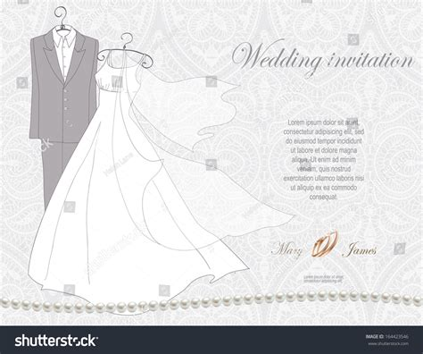 silver wedding invitation background wedding invitation decorated wedding dress suit stock vector 164423546