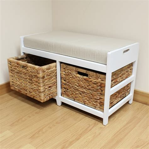 narrow storage bench storage bench cushion seat seagrass wicker baskets bathroom bedroom hallway