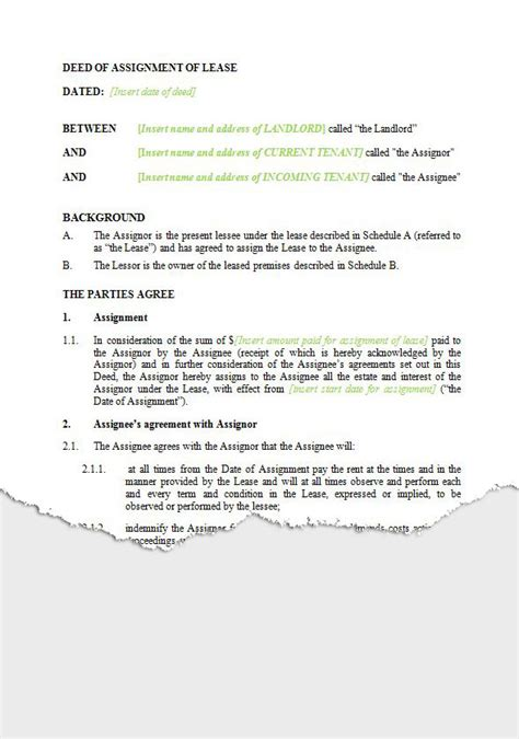 Lease Assignment Letter Agreement To Assign Lease Nz Assignment Of Lease Agreement