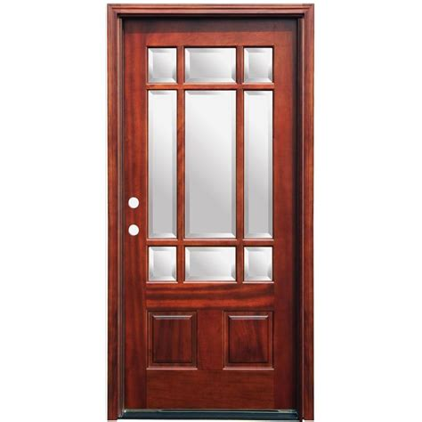 Doors Exterior Home Depot Pacific Entries 36 In X 80 In Craftsman 9 Lite Stained Mahogany Wood Prehung Front Door With 6