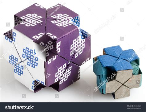 Origami Dice - two origami dice stock photo 21283024
