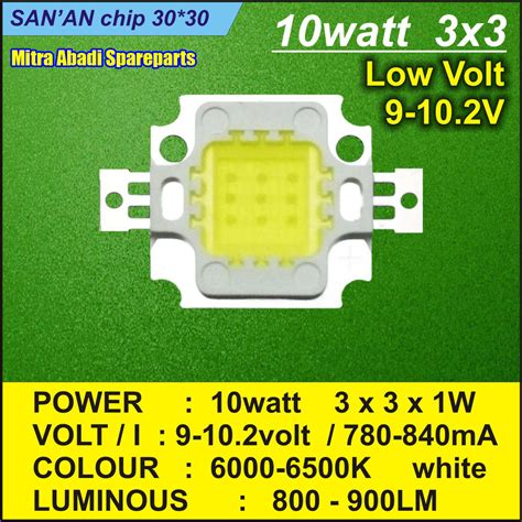 jual hpl 10w high power led 10 watt sorot 3x3 white 30x30 saman mitra abadi spareparts
