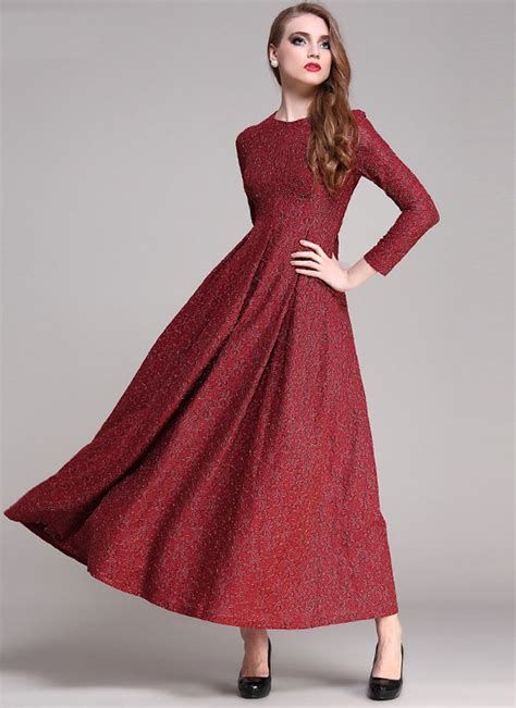 Maxi Maron Gold by Gold Gilded Maroon Lace Maxi Dress With Sleeves Rm191