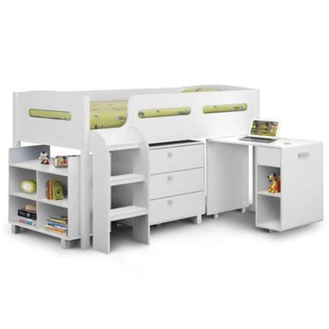 Julian Bowen Kimbo White Cabin Bed With Pull Out Desk White Cabin Bed With Desk