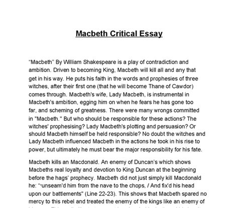 Macbeth Essay Assignments by Macbeth Thesis Statements For Ambition 187 Original Content
