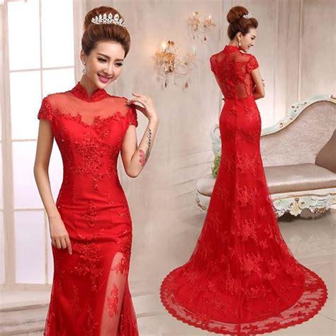 Gaun Pesta Princess Cheongsam mandarin collar trailing mermaid evening dress floral lace