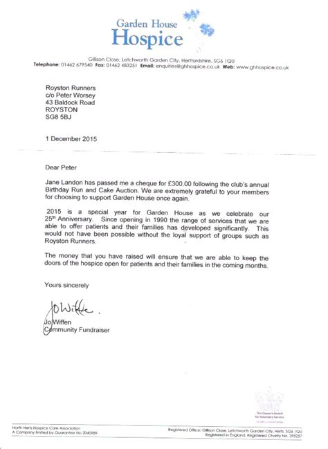 Donation Letter To Hospice the garden house hospice written to say quot thank you quot royston runners