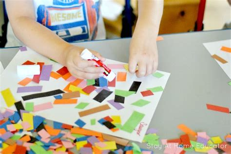 Paper Process At Home - scissor practice turns into collage for preschoolers