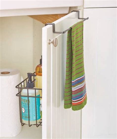 Cabinet Door Storage Basket New The Cabinet Door Towel Bar W Storage Basket Organizer Brown Or Chrome Ebay