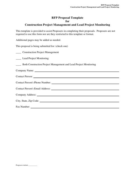 RFP Proposal Template for Construction Project Management