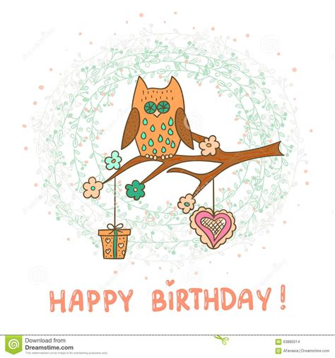 template birthday card illustrator happy birthday card template cute cartoon owl stock