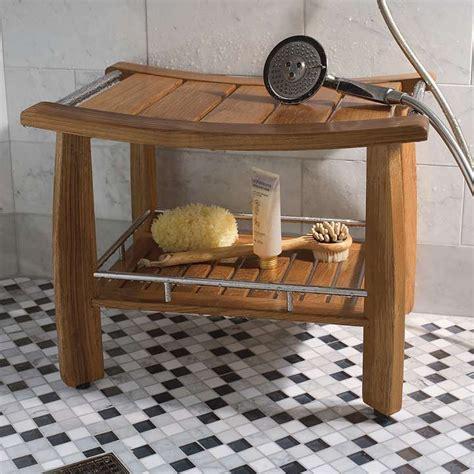 spa shower bench spa teak shower bench with shelf frontgate
