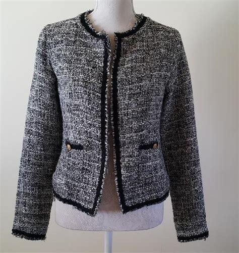 Gw Sweater Leopard jackets coats jacket chanel style tweed look in black white size 34 free postage in