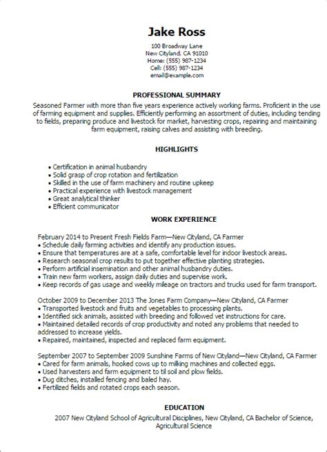 Construction Framer Resume by 1 Farmer Resume Templates Try Them Now Myperfectresume