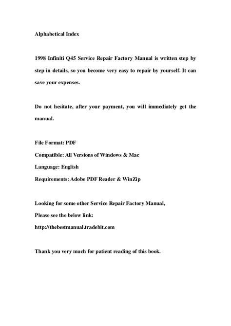 free download parts manuals 1998 infiniti q user handbook 1998 infiniti q45 service repair factory manual instant download