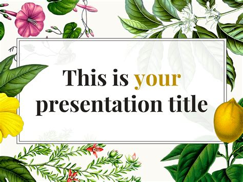Free Original Powerpoint Template Or Google Slides Theme With Botanical Illustrations Plant Powerpoint Templates Free