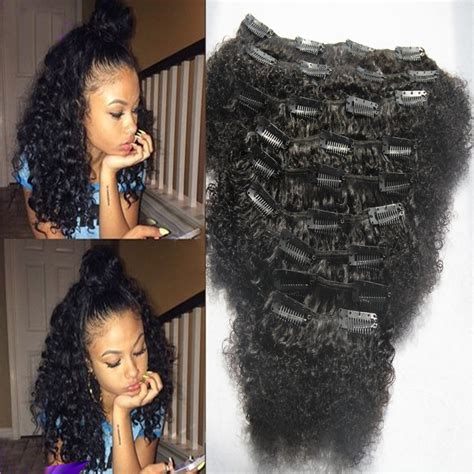 kinky hairpieces for black women mongolian virgin hair 9pcs afro kinky curly clip in human