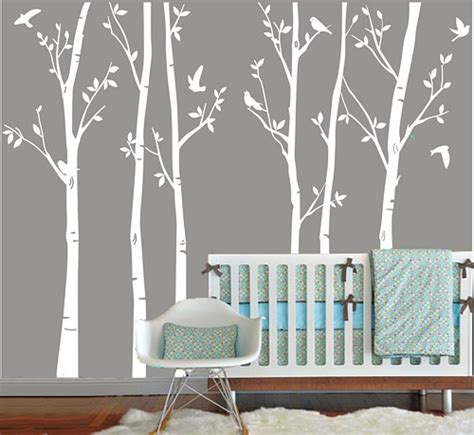 Nursery Room Tree Wall Decals Vinyl Wall Decals White Tree Decal Nursery Six Birth Trees Birds Leaf Bird Trees Home House Wall