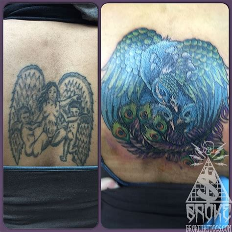 tattoo fixers peacock aaronbroke back cover up cover up tattoo color fix peacock