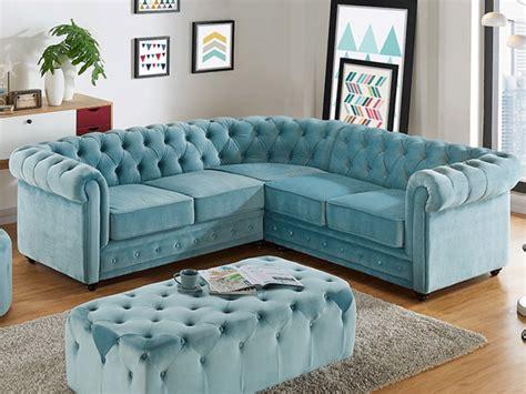 divani azzurri divano angolare in velluto azzurro pastello chesterfield